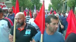 Proteste gegen neue Sparmaßnahmen (18. Juni 2015)